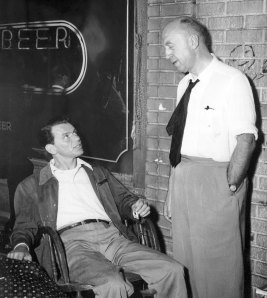 Otto Preminger and Frank Sinatra on the set of The Man with the Golden Arm (1955)