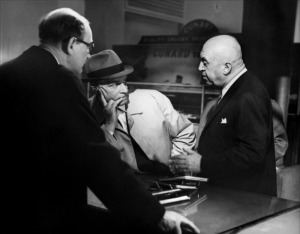 Otto Preminger and Laurence Olivier on the set of Bunny Lake is Missing (1965)