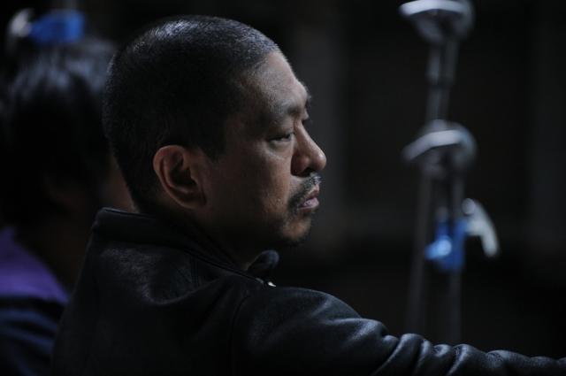 Hitoshi Mastumoto sur le tournage de Saya Zamurai