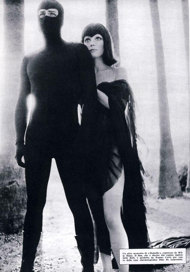 Photo publicitaire d'un film jamais tourné, Diabolik de Seth Holt avec Jean Sorel et Elsa Martinelli