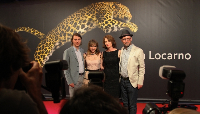 Ruby Sparks, Piazza Grande, from left: Paul Dano actor, Zoe Kazan actress, Valerie Faris, director, Jonathan Dayton, director